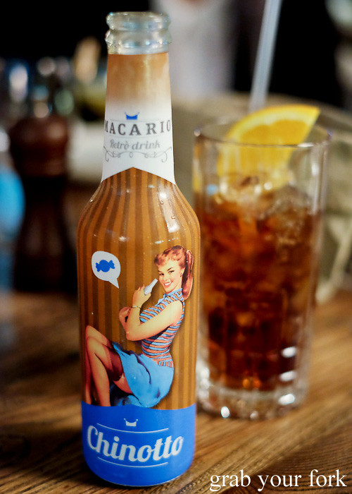 Macario retro chinotto at Bar Machiavelli in Rushcutters Bay