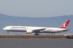 Turkish Airlines Boeing 777-300ER landing SFO, 28L or 28R P1013387