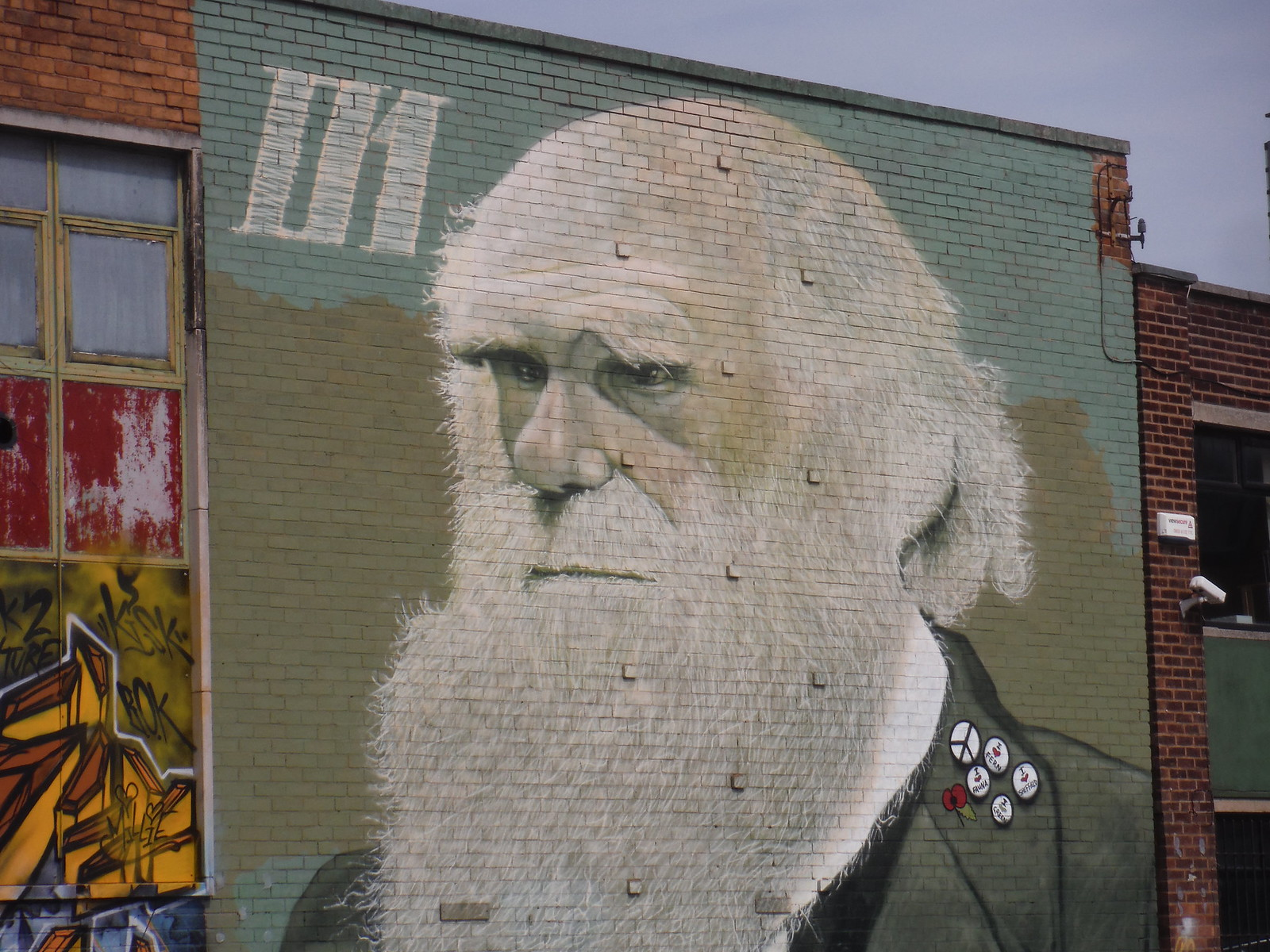 Graffito (Charles Darwin) on Sidney Street SWC Walk 267 - Sheffield Circular (via Porter, Limb, Sheaf and Gleadless Valleys)