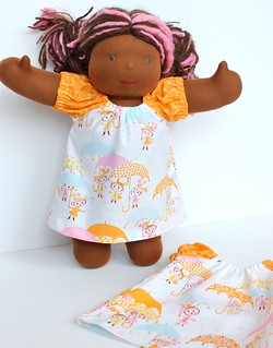 "Rainy Day Dress w/Knickers for 10"" and 15"" Dolls"