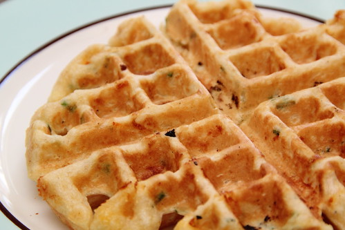 Making Cornmeal Chive Waffles
