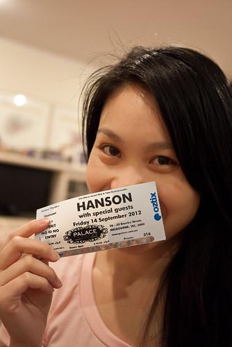 Hanson ticket, w00t!