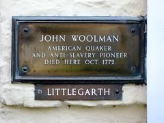 Photo of John Woolman bronze plaque