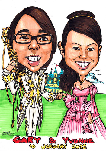 Prince and princess caricature wedding @ castle