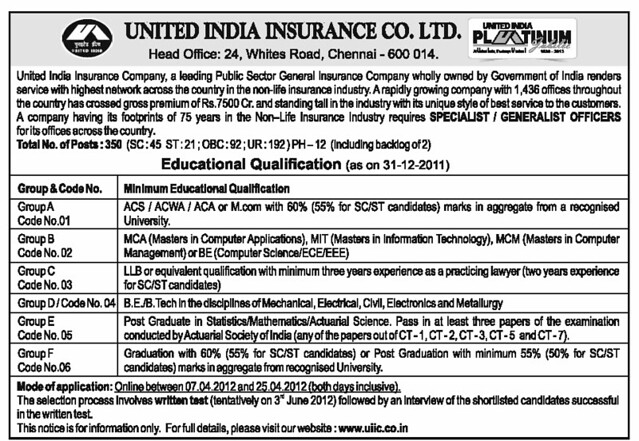 United India insurance (UIIC) specialist officers and generalist officers