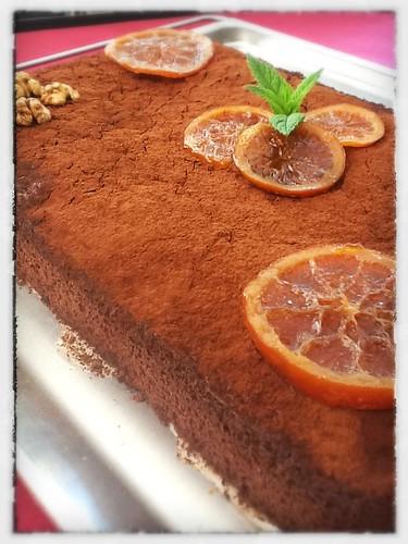 Brownie de Naranja confitada y Nueces