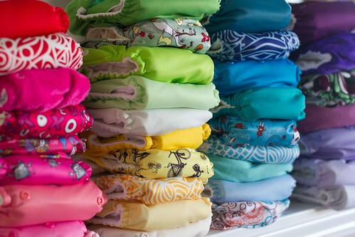 a rainbow of cloth diapers.