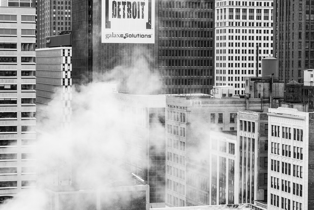 black and white image of the detroit skyline