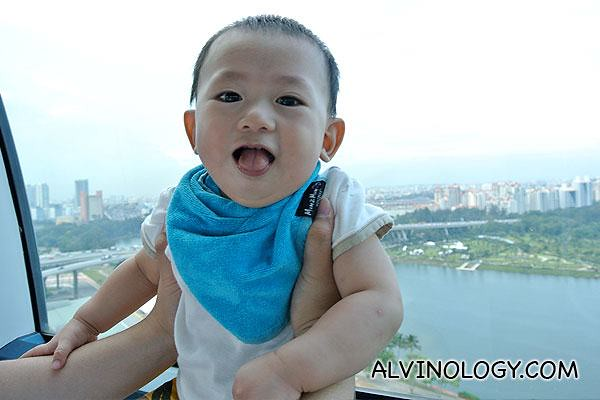 Happy baby in Singapore Flyer capsule