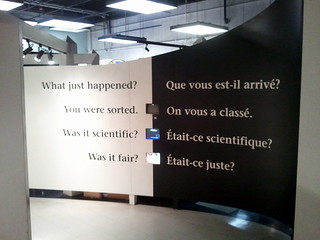 Exhibition sign: 'What just happened? You were sorted.'