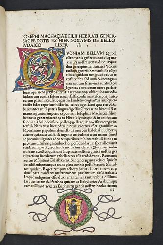 Decorated page with coat of arms in Josephus, Flavius: De antiquitate Judaica. De bello Judaico