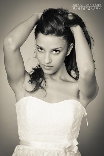 Studio portrait in black and white