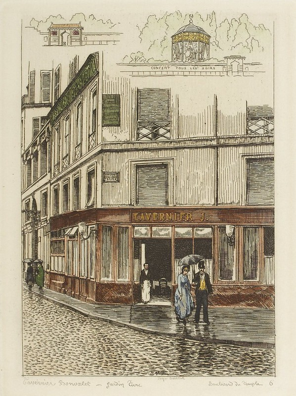 couple with umbrella on 1870s Paris street corner