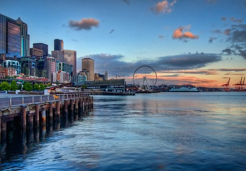 pacificnorthwest pugetsound washingtonstate hdr elliotbay downtownseattle seattleaquarium seattlesunset seattlewaterfront summerskies canonrebelxsi seattleferriswheel fresnatic theseattlegreatwheel