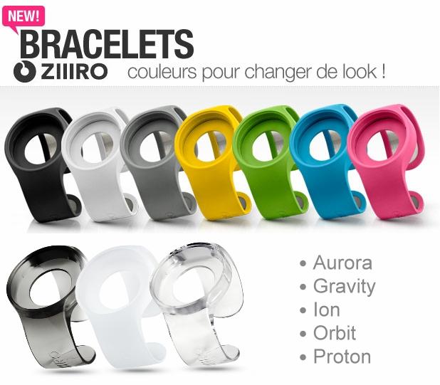 Différents couleurs de bracelets disponibles Ziiiro
