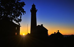 """Sunrise Silhouette"" Au Sable Point Lighthouse Pictured Rocks National Lakeshore by Michigan Nut"