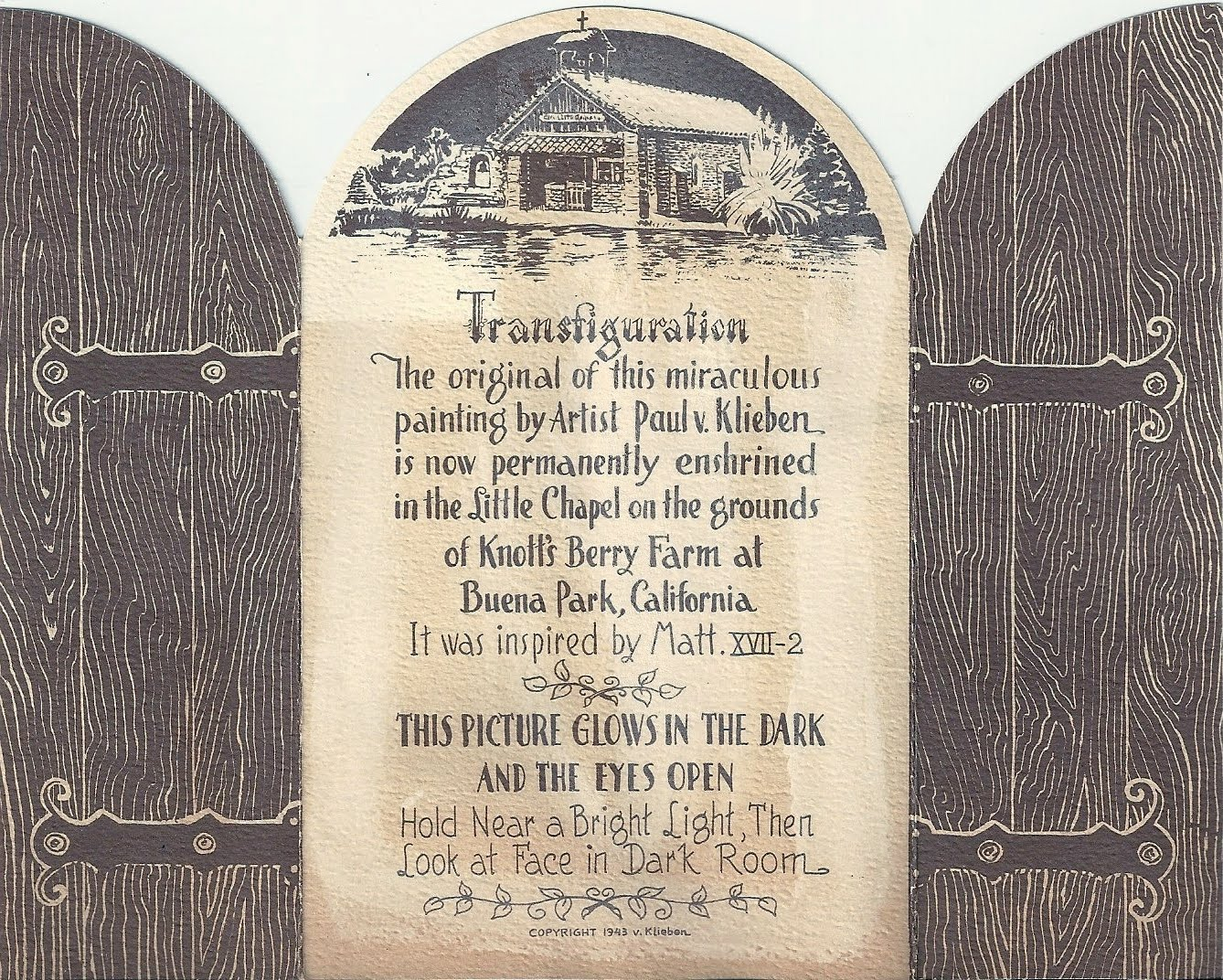 Transfiguration (back), Glow-in-the-dark souvenir from Our Little Chapel by the Lake, Reflection Lake, Knott's Berry Farm, Buena Park, California, 1943