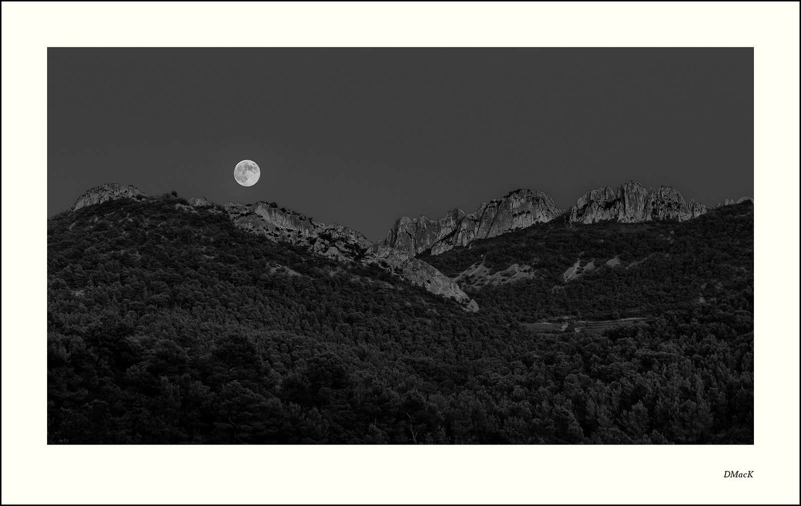 Moonrise over the Dentelles de Montmirail