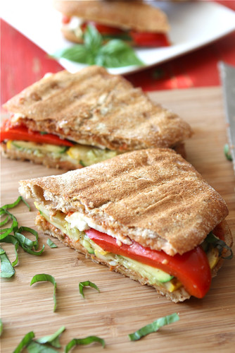 Grilled Italian Panini Recipe with Zucchini, Summer Squash and Basil {Vegetarian}