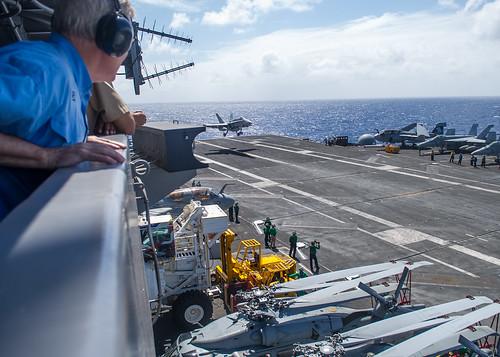 The SECNAV observes flight operations.