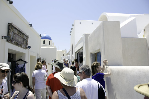 Santorini-Walking down the street in the village of Oia