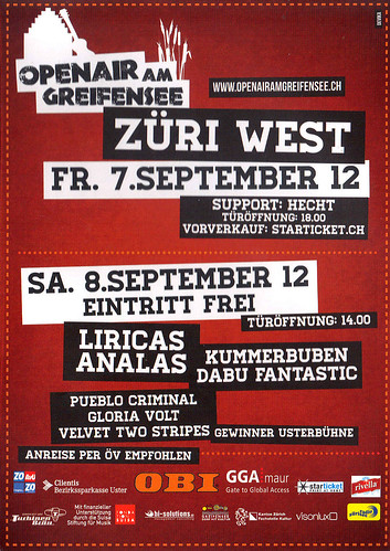 Openair am Greifensee 2012 - Flyer - 08.09.2012 - PUEBLO CRIMINAL