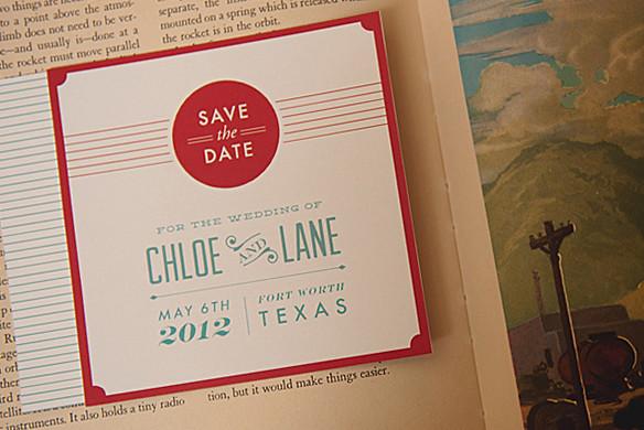 retro wedding save the date invitation