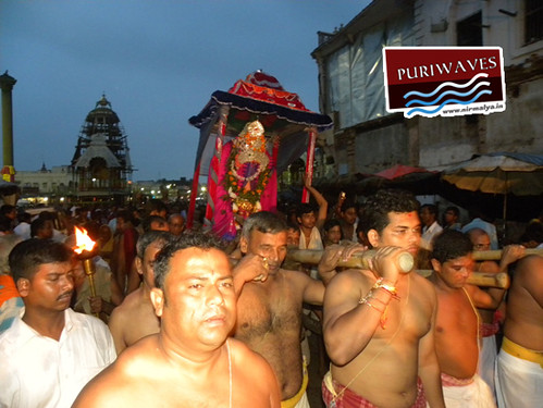 Lord Sudarshan is being carried by Daitapati Sevak