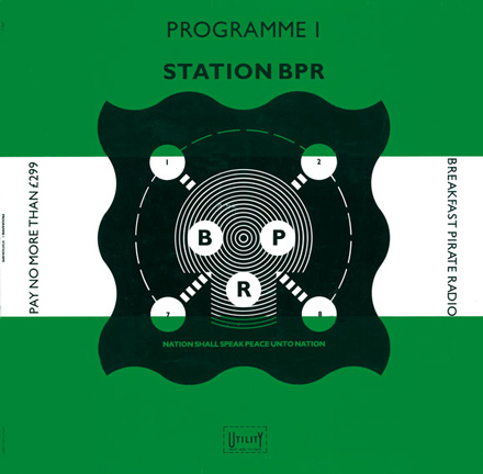 Front, Programme 1 by Station BPR, the unreleased pirate radio album by Keith Allen. Design: Barney Bubbles. 1983.
