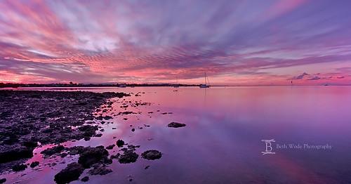 pink sunset seascape clouds reflections boats nikon rocks purple dusk beth redlands victoriapoint wode d7000 bethwode