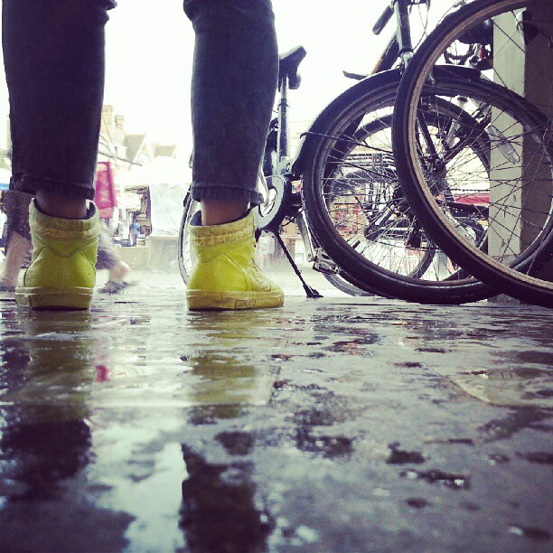 Yellow Boots #cambridge #street #bikeride #bikes #ground #wet #rain #feet #boots #lowangle #2012 #downpour