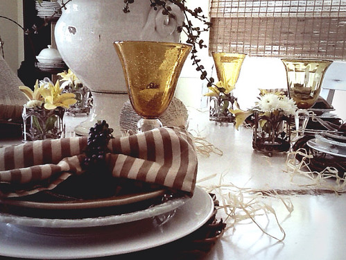 Elegant Rustic Tablescape using denim, gold goblets, grapevine wreath chargers