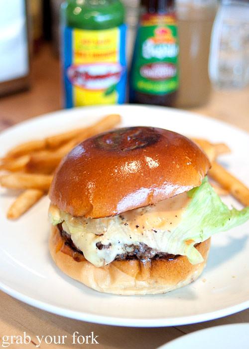 beef hamburger at pearl's diner, felixstowe, adelaide