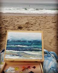 A little plein air painting today at Manresa beach in between Monterey and Santa Cruz 😍😍  #monterey #santacruz #art #pleinair #pleinairpainting #california #painting #paletteknife #oilpainting #beachdecor #beachlife #beach #bayarea #