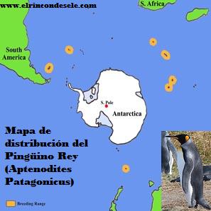 Mapa de distribución del pingüino rey