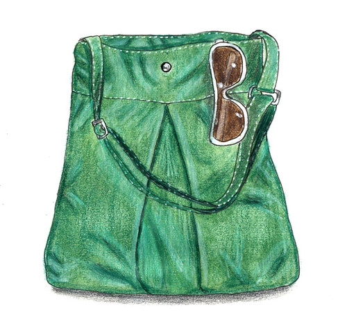 Green bag with sunglasses