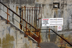 Steps to a landing stage at Seahouses Harbour