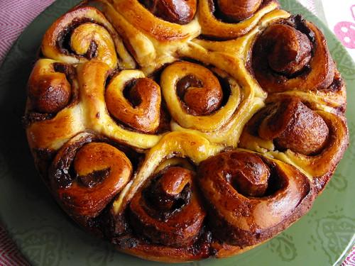 Pão das rosas com chocolate