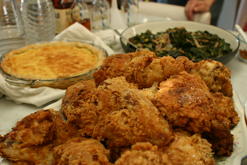 Fried chicken, collard greens, lemon chess pie