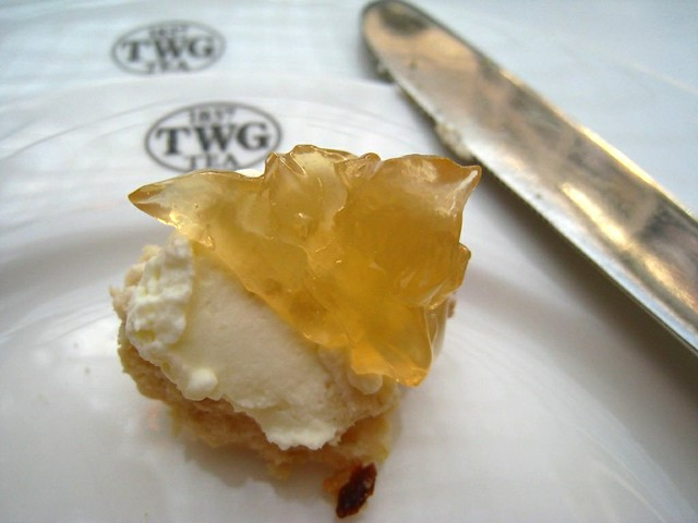 Scone with whipped cream & TWG Tea Jelly on top