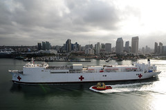 SAN DIEGO (May 3, 2012) The Military Sealift Command hospital ship USNS Mercy (T-AH 19) departs San Diego for Pacific Partnership 2012. (U.S. Navy photo by Mass Communication Specialist 2nd Class Eva-Marie Ramsaran)