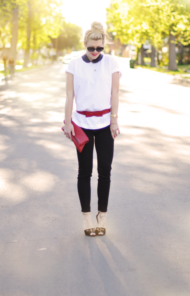 black jeans-faux peplum diy- red belt-leather peter pan collar