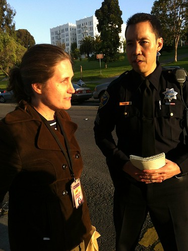 Jenna Lane @kgoradio asking @sfpd why she was detained for almost 2 hours #journarrest #888Turk #occupysf #sfcommune #ows #m1gs