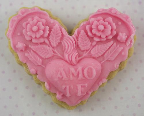 Amo Te Springerle Cookie Pink