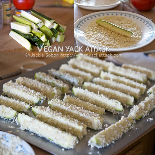 Baked Zucchini Sticks with Spicy Queso Dip - Vegan Yack Attack
