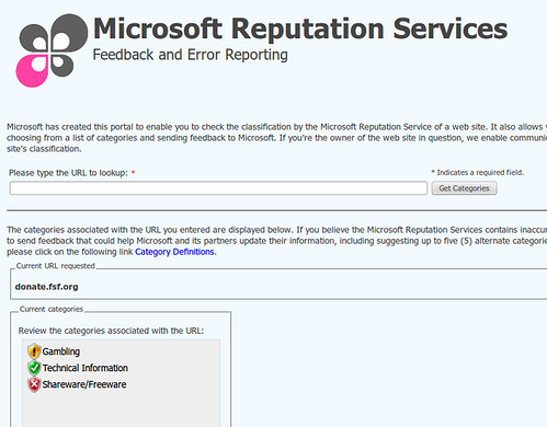 FSF @ Microsoft Reputation Services
