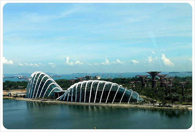 singapore flyer view over gardens by the bay