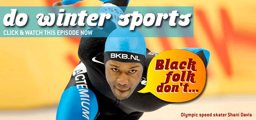 image from the episode Black Folk Don't: Do Winter Sports showing a black speedskater on the track