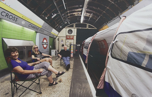 Tube train tent at Charing Cross