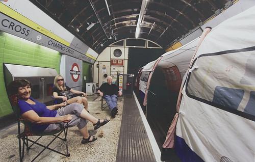 Tube train tent at Charing Cross